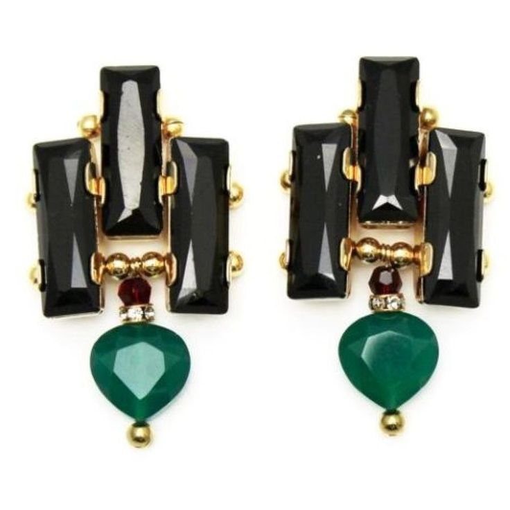 Akong London 24K Gold Plated Green Onyx Earrings