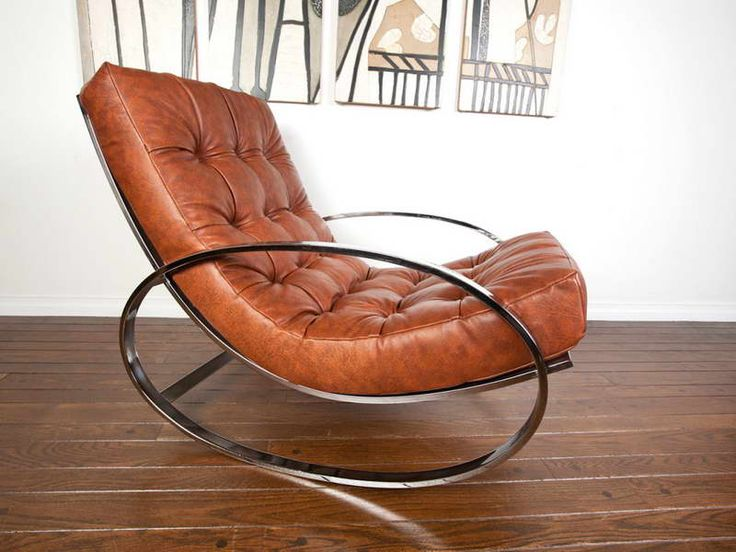 Modern Leather Rocking Chair With White Walls