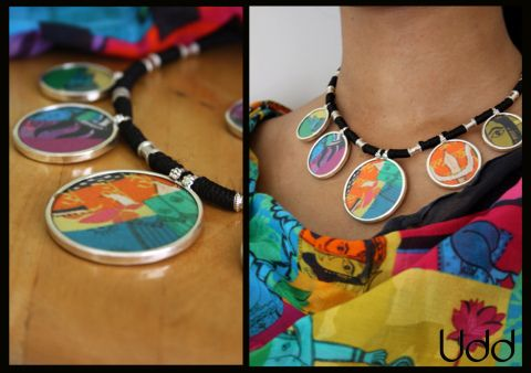 silver with udd patch work neck piece
