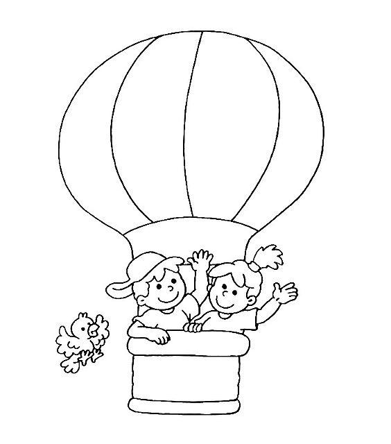 Disegni da colorare per bambini mongolfiera con bambini for Coniglio disegno per bambini