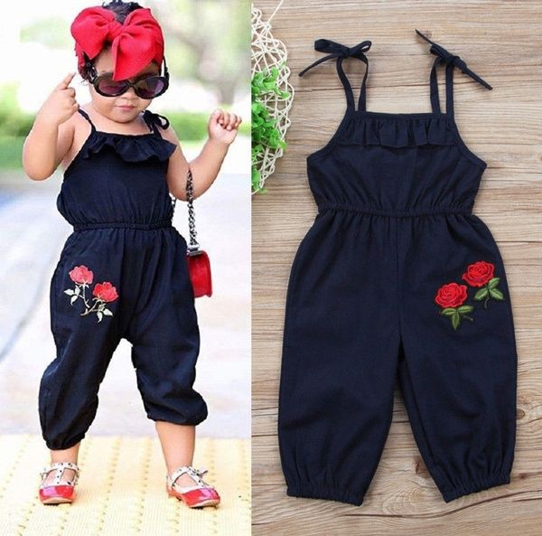 Toddler Kids Girls Denim Strap Bib Pants Romper Jumpsuit Playsuit Outfit Clothes