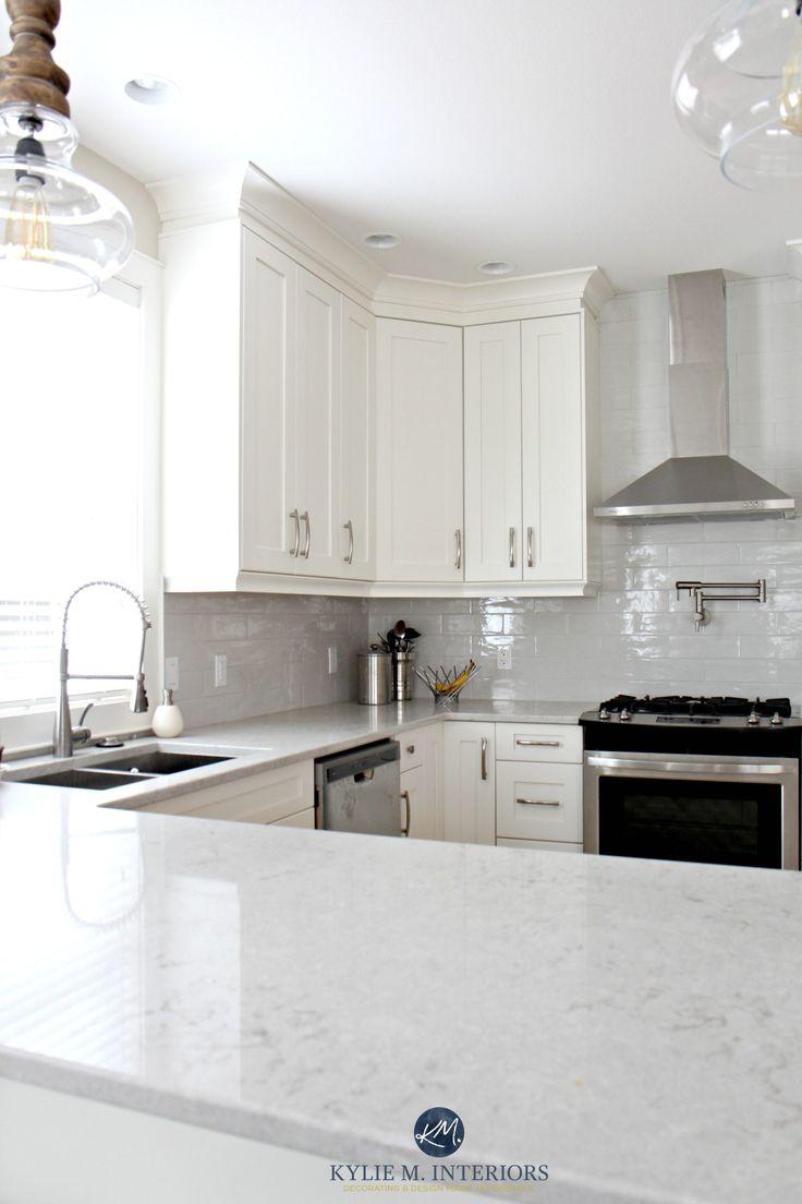 low contrast white kitchen with bianco drift quartz countertops and gray subway tile backsplash kylie - Schwarzweimosaikfliese Backsplash