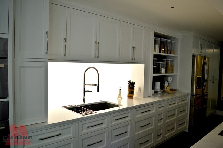 Lighted backsplash and storage Marino General Contracting