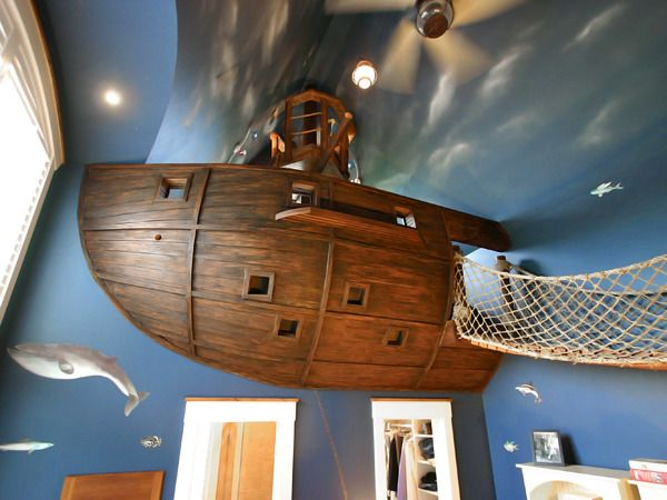 High Fashion Home Blog. The ultimate Boys bedroom...a pirate ship! The interior is so cool as well.