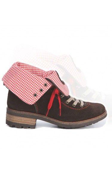 Trachten Stiefel Leinen/Leder - 3035 -rot
