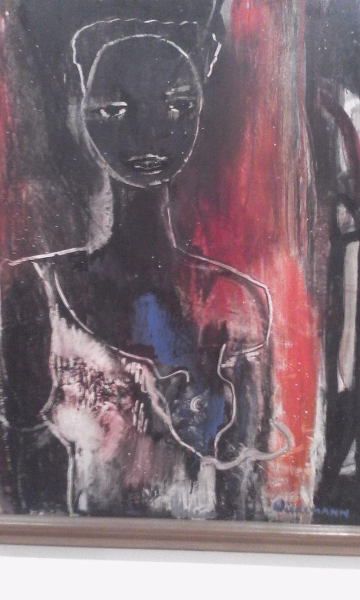 Guillermo Wiedemann Retrato fondo rojo Ca.1950 Oleo sobre carton.