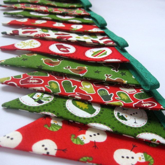 Handmade Fabric Christmas Bunting Decoration in Red and Green Fun Novelty Prints £12.50