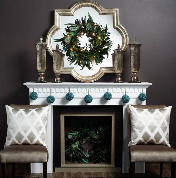 decoración de navidad plumas pavo