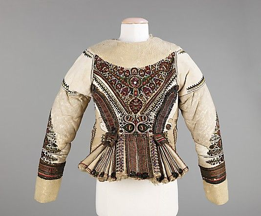 Jacket Date: late 19th century Culture: Hungarian Medium: leather, wool, metal, glass, silk