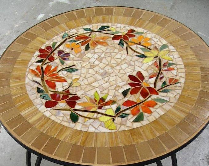 """EN venta 30"""" mosaico cuadro motivo floral manchado vidrio con incrustaciones de hierro muebles hechos a mano colores mesa"""