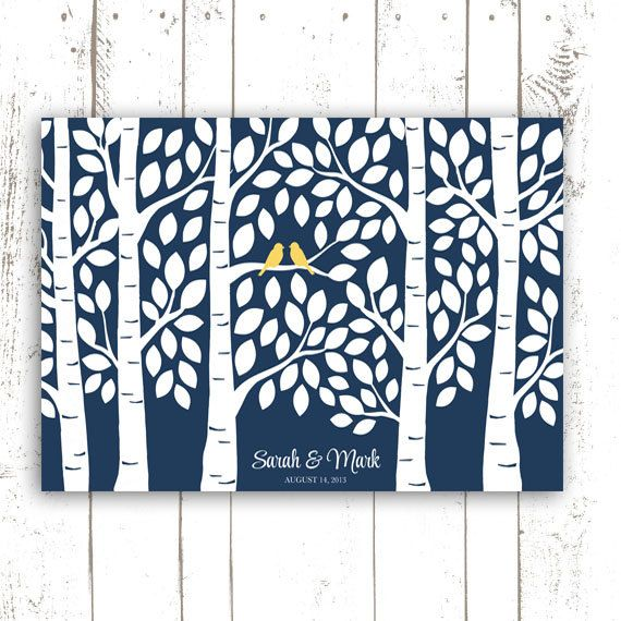 Guest Book Tree - Wedding Guest Book Alternative Poster - Guestbook Tree for 150 Guests in Navy Blue on Etsy, $54.00
