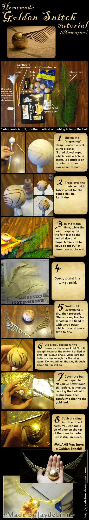 So I made a replica of the Golden Snitch (movie version) from the Harry Potter series a long time ago, and had some requests for a tutorial, so here it is! SORRY IT TOOK SO FREAKING LONG!! If you h...