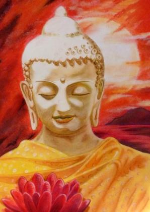 Eigen werk, schilderij van boeddha met lotusbloem. Buddha with lotus flower, one of my paintings. Kaartje2go - creagaat boeddha
