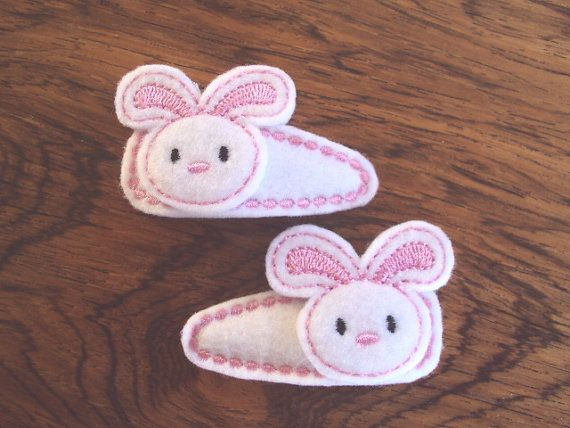 Felt snap clip barrette Easter bunny rabbits in by PJSEMBROIDERY, $5.00