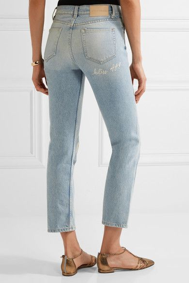 Bliss and Mischief - Study Hall Embroidered High-rise Straight-leg Jeans - Mid denim - 25