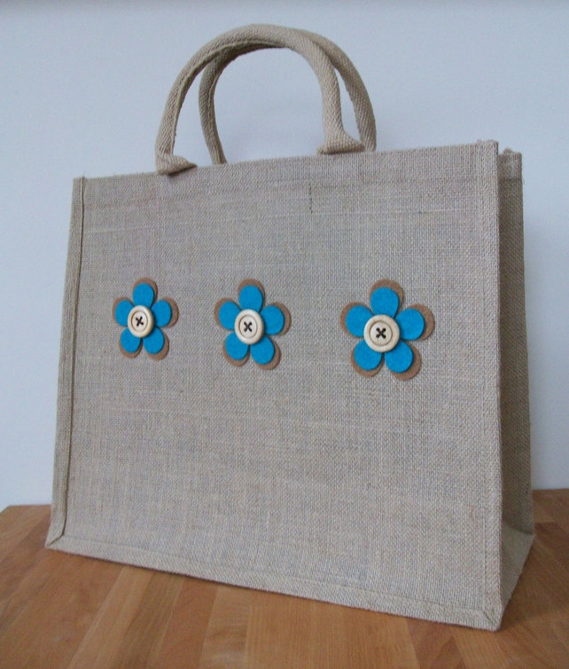 Natural Jute Hessian Large Shopping Bag - Teal and Tan Felt Flowers £10.00