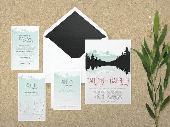 The 'Gemma' Wedding Invitation; Vintage Invitation, Rustic Wedding, Mountain Wedding, Lake Wedding, Destination, Travel, Outdoor, Printable