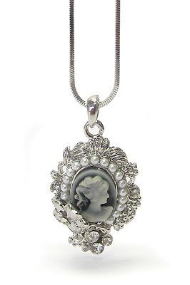 Swarovski Lady White Gold Plated Cameo Carnelian Flower Charm Pendant Necklace