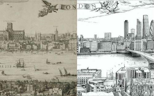 Zoek de overeenkomsten. Een panorama uit 1616 van Londen gemaakt door Claes Jansz Visscher is 4 eeuwen later door Robin Reynoldsopnieuw gemaakt met de huidige skyline.
