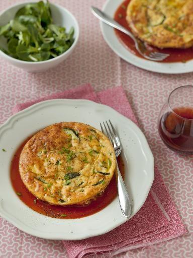 Flan de courgette et son coulis de tomate