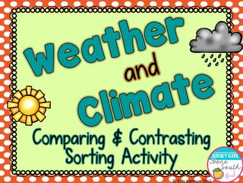 Looking for a way to show the similarities and differences between weather and climate? Check out this sorting activity! This activity can be used independently or in a group setting. It includes a Venn diagram and cut and paste labels to be put in each section of the Venn diagram. It also includes a weather and climate header and description task cards, so that you can do the activity in a group setting. Check out the preview for a detailed look at what is included!