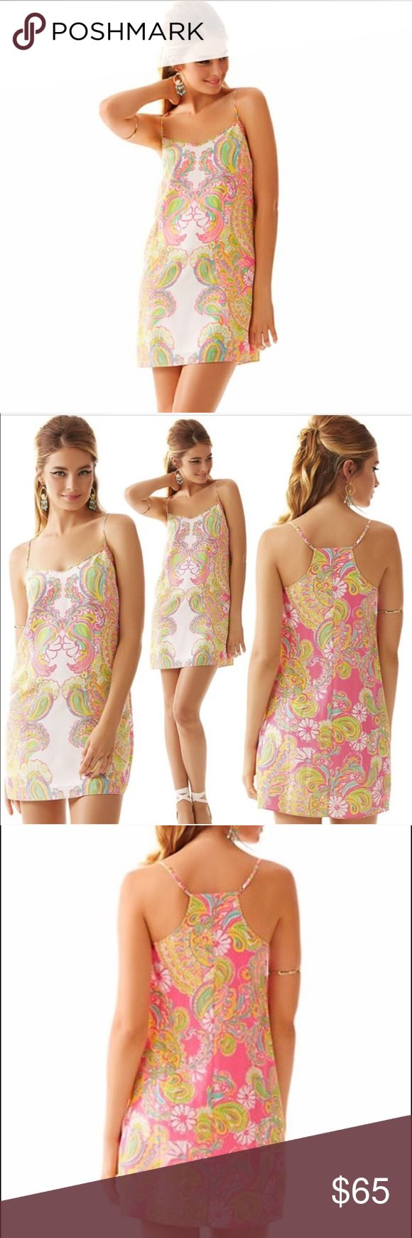 Lily Pulitzer dusk dress doubl trouble💕💓🌸 Lily Pulitzer double trouble. Xxs. I would say it fits more like xs than xxs. The pattern is so beautiful. Super light, flowy. It can be wear by pool as swim cover I would say.  Bought it from posh as new without tag. I tried on in the house. Never wore outside. Original price 198.00. Ladies get ready for summer😍💕 Lilly Pulitzer Dresses Midi