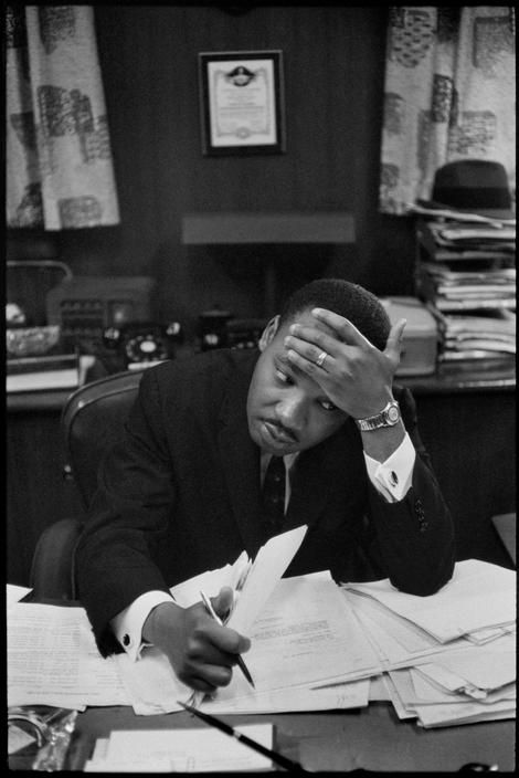 Martin Luther King Jr. in the Pastor's study, Ebenezer Baptist Church, Atlanta, Georgia, USA, 1961.  Photo by Henri Cartier-Bresson/Magnum Photos
