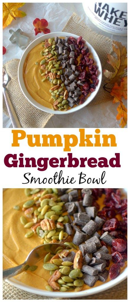 Love all things pumpkin and gingerbread? Make this high-protien Pumpkin Gingerbread Smoothie Bowl! It taste like pumpkin pie and gingerbread all in a guilt-free smoothie form! Perfect for a post-workout treat!