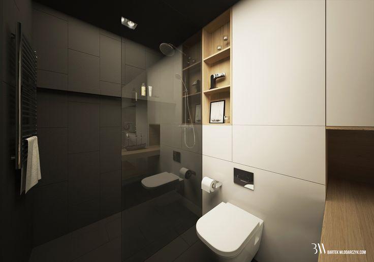 Apartament na osiedlu WIlno. Prysznic typu walk-in ze szklanym parawanem. www.bartekwlodarczyk.com