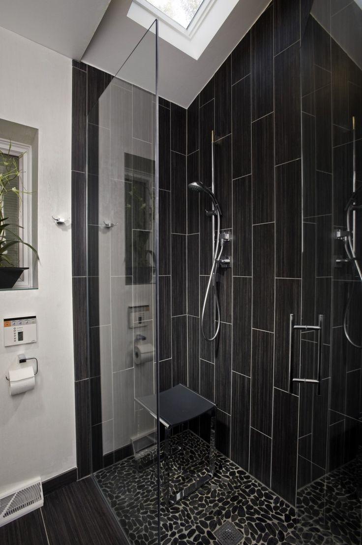Bathroom Decoration Splending Black Vertical Subway Tile With Clear Glass  Door Single Handle Chrome Polished As
