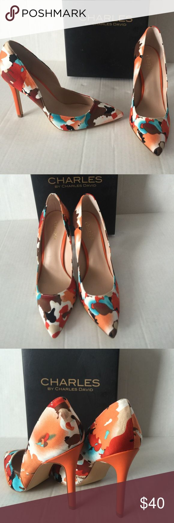 Charles David Orange Camo Flower Pump Patent heels New with original box Charles by Charles David pumps in a size 6.5. Orange Camo Floral Print Patent Heel. A sexy pump that can be worn casual or for a night out. Charles David Shoes Heels