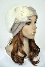JM39 Rabbit Fur & Wool Lady Winter Hat Beanie Cap Cute Pearls Flower Ivory-Beige