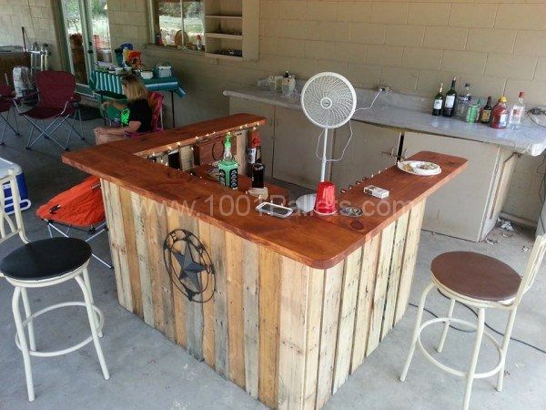 Patio bar from pallet wood and a 12 x 2 board for the top.