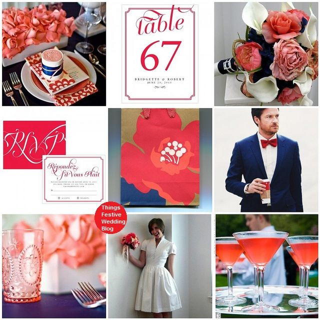 navy red and coral wedding theme