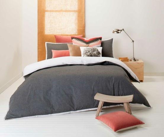 Orson Charcoal Quilt Cover Set | Kiva Red European Pillowcase | Lewis Dusk european pillowacse + Cushion | Arbre natural Cushion