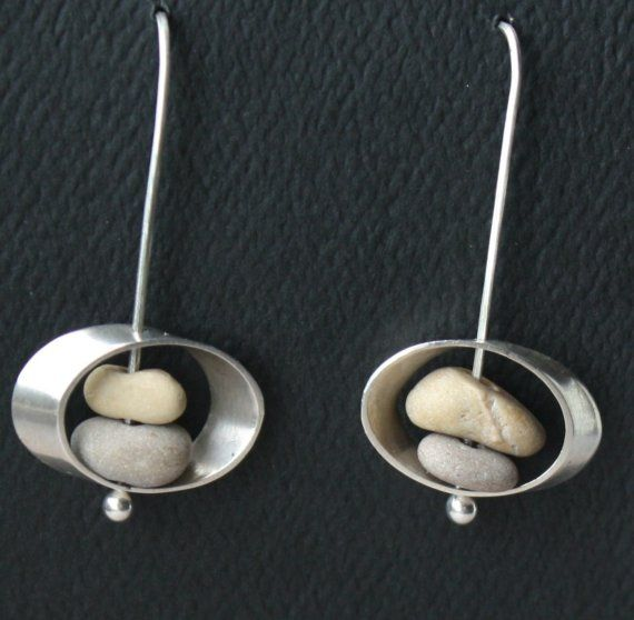 Beach Stone and Silver Earrings : fugudesigns - etsy  --- pp: Love these earrings.