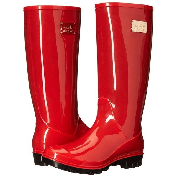 Nicole Miller New York Rainy Day Women's Rain Boots, Red ($45) ❤ liked on Polyvore featuring shoes, boots, mid-calf boots, red, wellies boots, rubber boots, red rubber boots e lined rubber boots