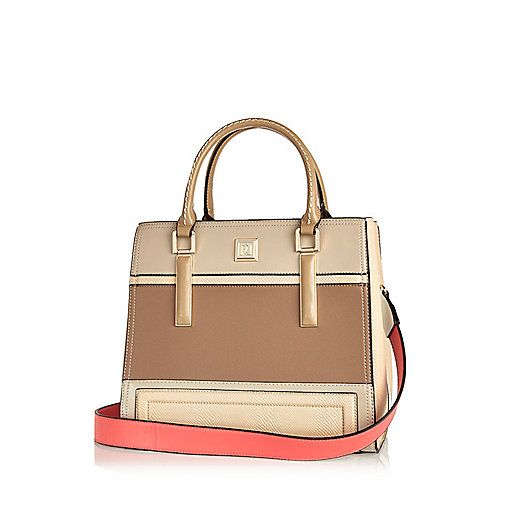 Beige panelled structured tote handbag