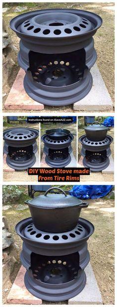 Estufa de madera DIY hecho de llantas llantas ----------- DIY Wood Stove made from Tire Rims - iSaveA2Z.com