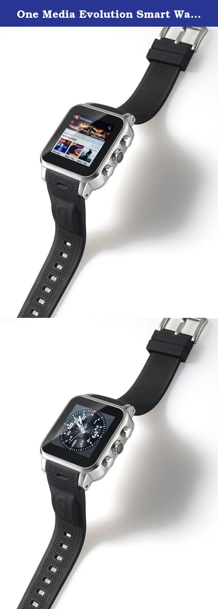 One Media Evolution Smart Watch - Silver. The Evolution is a general use wearable for those users who want to travel light and leave their phone at home, or as a replacement for one of the two phones that so many people are carrying nowadays. Controlled through its touch screen or your voice, it is available in rose gold, silver, or black. Dress it up and take it out for an elegant night on the town, or dress it down and take it out for a run. Not only will it keep you in touch with your...