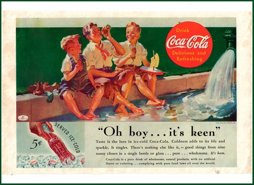 1935 Drinking Coca Cola Boys Shoes Off Feet in Water Sailboat Color Ad
