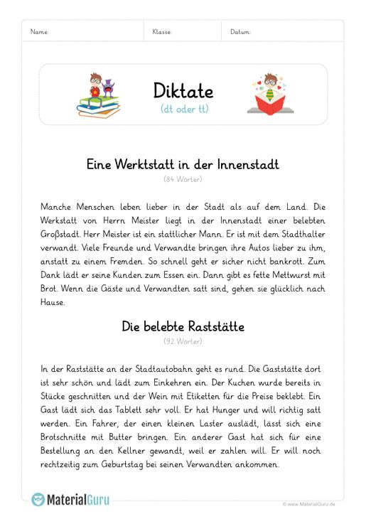 diktat dt oder tt unterrichtsmaterialien deutsch unterricht deutsch lernen und deutsch lesen. Black Bedroom Furniture Sets. Home Design Ideas