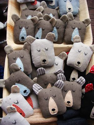 sleeping bear heads! Maybe for hand warmers?