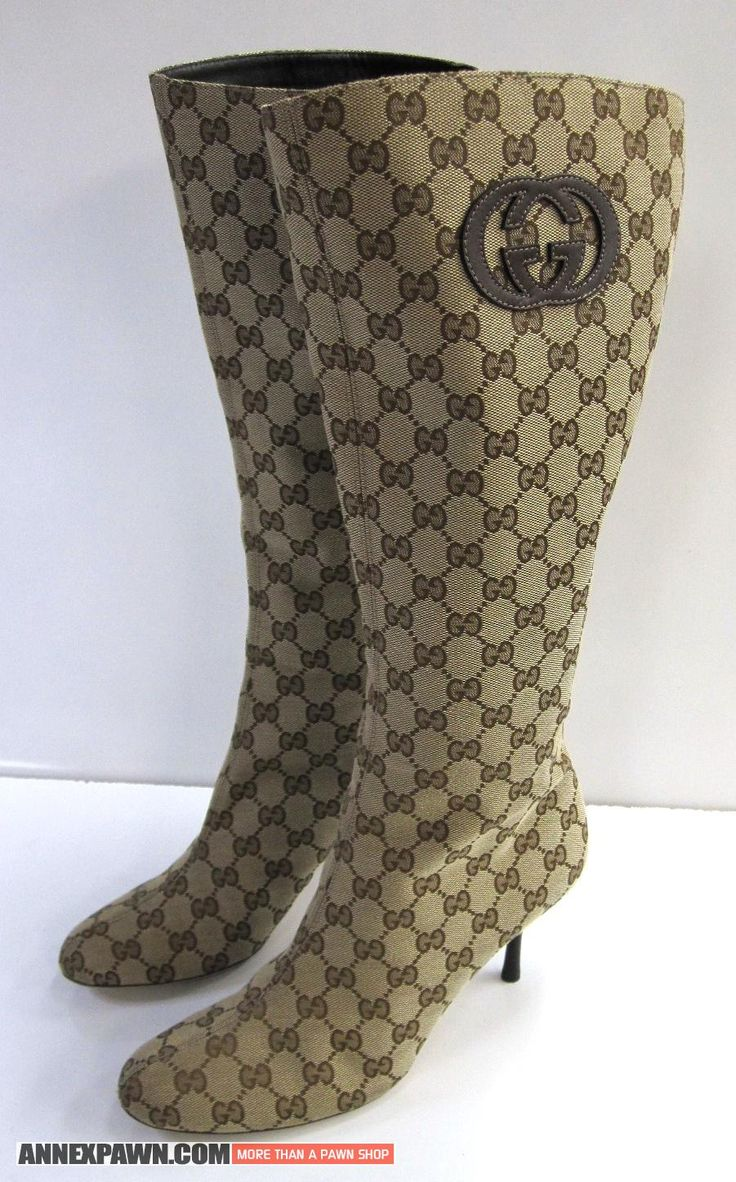 #Gucci Monogram Knee high #boots. #Stiletto Heel Canvas and Leather Size 10 B Sz 42