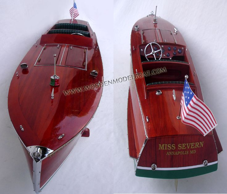 The present Miss Severn is 26ft long, 6ft wide and weighs 4300 lbs. She is powered with a World War II Rolls Royce Meteor V12 engine of 1650 cubic inch displacement. This engine puts out about 650 hp at 2700 rpms and will drive the boat at about 60 miles per hour. This combination of hull and power closely matches the original Miss Severn. The marine conversion for this engine was done by New England Boat and Motor, Inc. of Laconia, N.H.