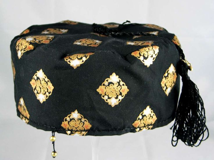 Handmade Smoking Cap - Lounging Hat - Black Cotton With Gold Silver And Bronze Metallic Priint