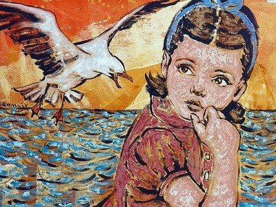 """DAVID BROMLEY """"Girl and Seagull"""" Acrylic on Linen, Signed 90cm x 120cm"""