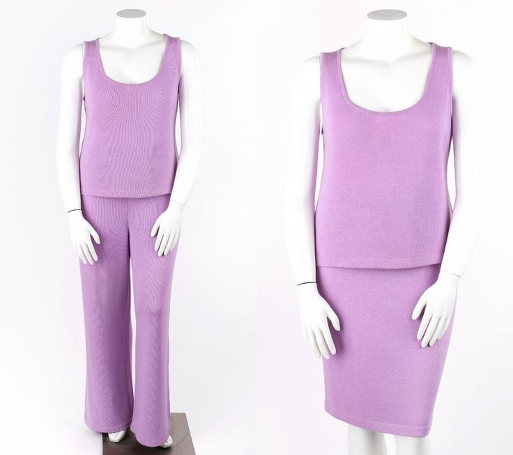 ST JOHN 3 Pc Lilac Purple Santana Knit Tank Top Skirt Pants Suit Set L / 12 / 16 #StJohn #3Piece