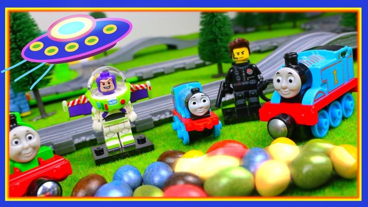 Trains for children video Thomas & friends Toy Cartoon UFO & surprise to...