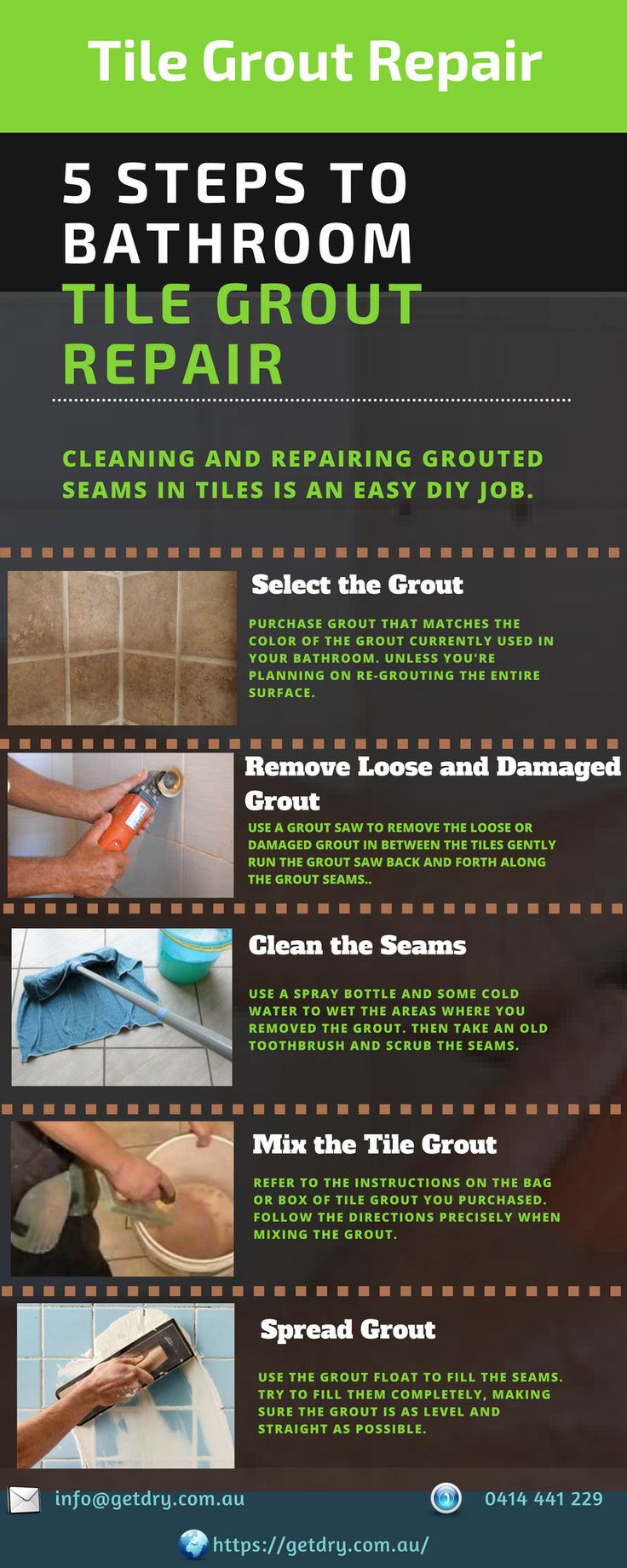 Here are 5 important steps for #tile #grout #repair in bathroom.